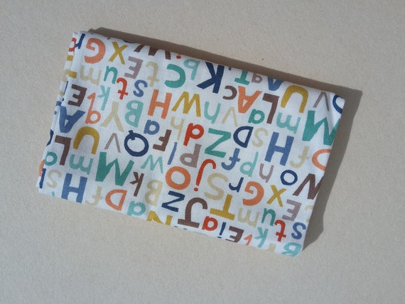 BABY JUNGLE fabric Coupon cotton patchwork ALPHABET ivory 50x55cm