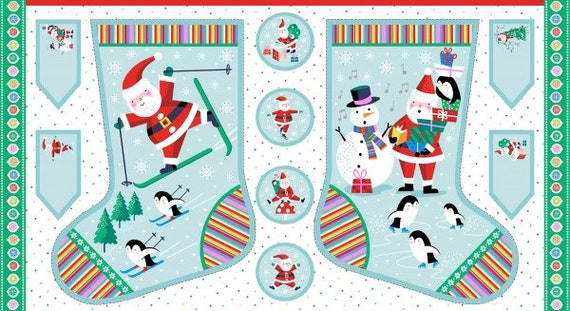 CHRISTMAS fabric Coupon cotton patchwork Panel large stocking do-it-yourself 60 x 110 cm