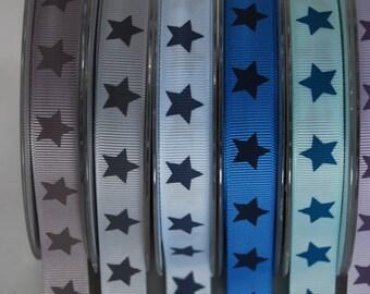 Ribbon grosgrain 16mm stars pale blue and dark grey polyester x2m