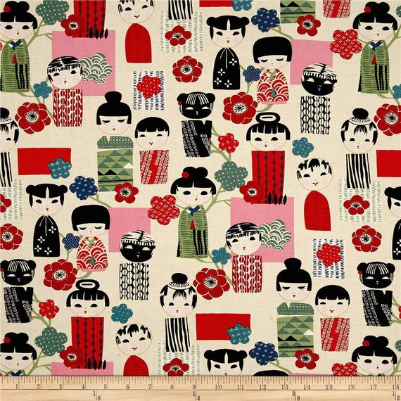 KIKI Coupon fabric KOKESHI doll Asian amid ivory 50x55cm patchwork cotton
