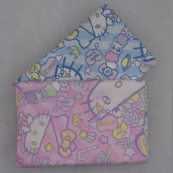 HELLO KITTY set of 2 Coupons fabric cotton patchwork design cat the most famous of the world on blue 50x55cm