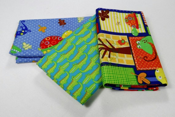 FUN WITH NATURE set of 3 Coupons fabric cotton patchwork 50x55cm