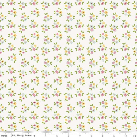 GARDEN GIRL fabric cotton patchwork x50cm white flowers