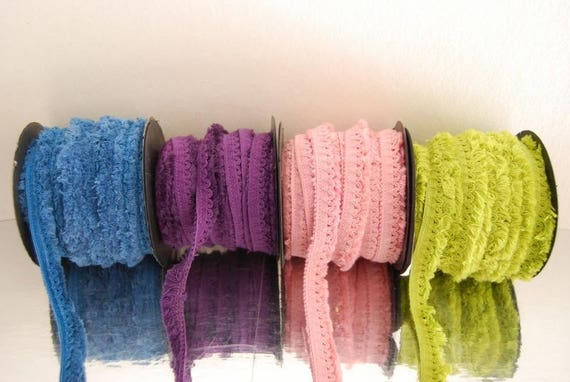 Elastic cotton fringe scalloped 4 colors
