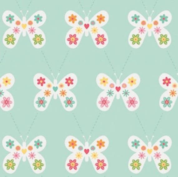 GARDEN GIRL fabric cotton patchwork flowers Butterfly green water x50cm