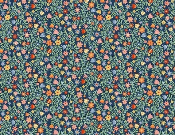 CRAFTY CATS fabric cotton patchwork x50cm blue liberty flowers