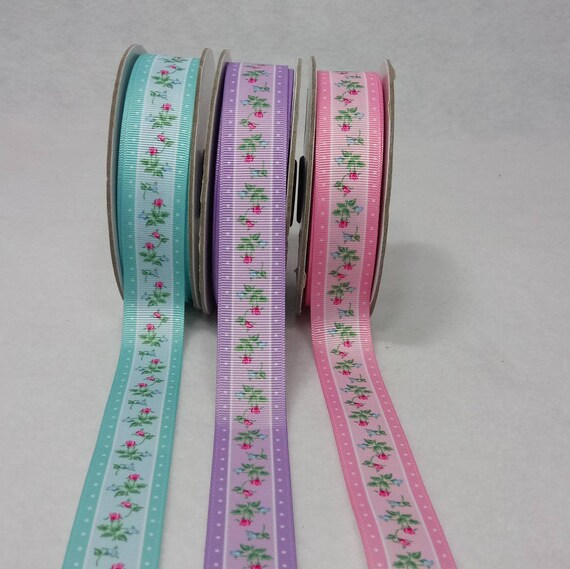 Small grosgrain Ribbon roses x2m 3 colors