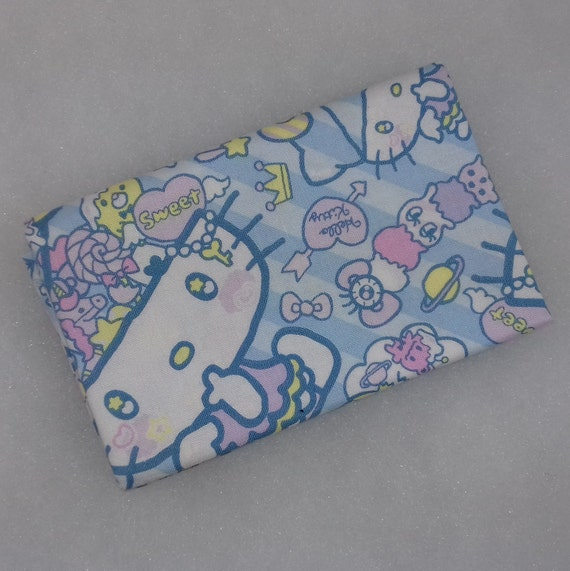 HELLO KITTY fabric Coupon cotton patchwork design cat the most famous of the world on blue 50x55cm