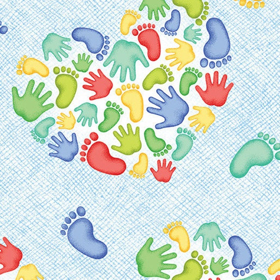 MIRACLE Coupon fabric cotton patchwork blue x1m A MIRACLE Heart prints and foot prints
