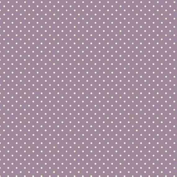 SPOT ON fabric cotton patchwork polka dot white on purple x50cm