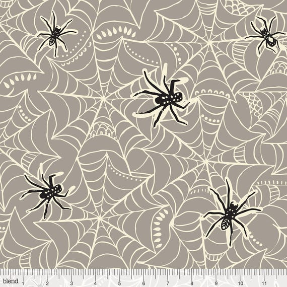 SPOOKTACULAR TOO fabric cotton patchwork spiders black gray and white x50cm