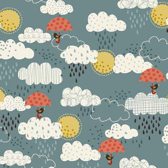WINDY DAY fabric cotonvpatchwork Windy Day Clouds blue grey x50cm