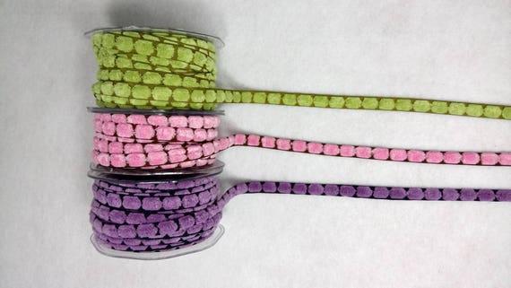 Braid tassels flat velvet 10mm x2m 3 colors