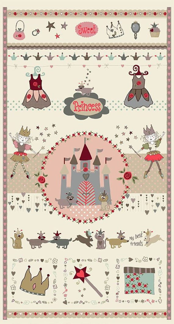 PRINCESS fabric cotton patchwork Panel SWEET Pastel 60x110cm big PRINCESS