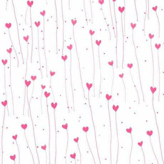 THE GIFT Of FRIENDSHIP Coupon cotton fabric pink patchwork Hearts on white 50x55cm
