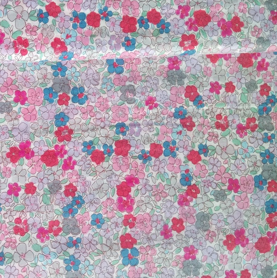 LIBERTY fabric cotton YUWA style Liberty pink and blue on white x 50 cm
