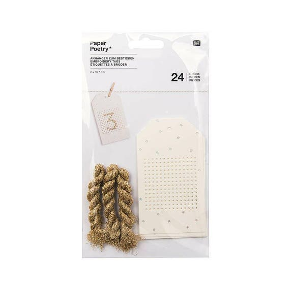 LABELS A BRODER x 24 ivory cardstock with silver or white stars and gold stars