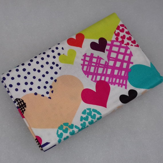 HEARTS A FLUTTER Coupon fabric patchwork hearts cotton multicolored 50x55cm