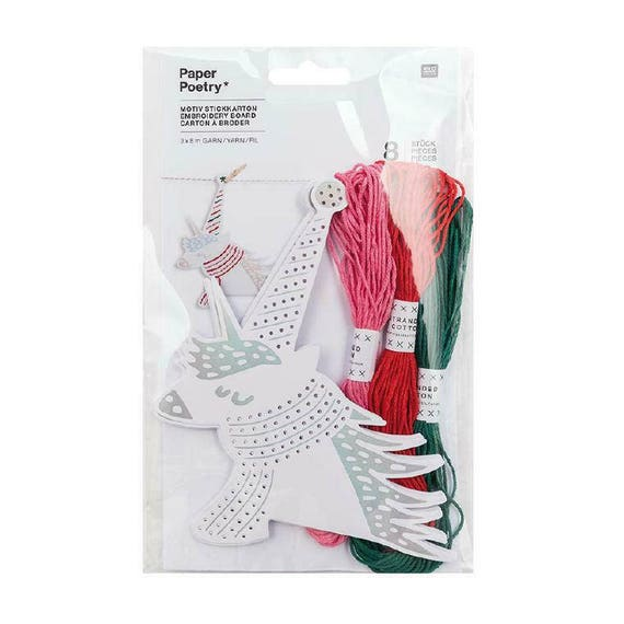 A CARDBOARD embroidery unicorns x 8 white and silver Decoration.