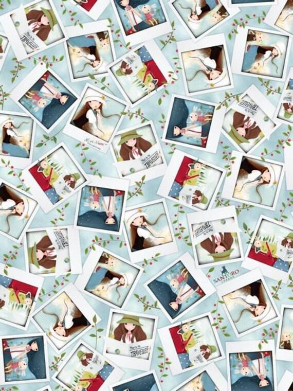Traveler fabric cotton patchwork blue x50cm TRAVELLER portrait Photos