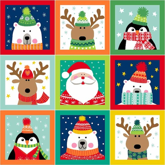 CHRISTMAS cotton fabric patchwork thumbnails characters Christmas x 30 cm