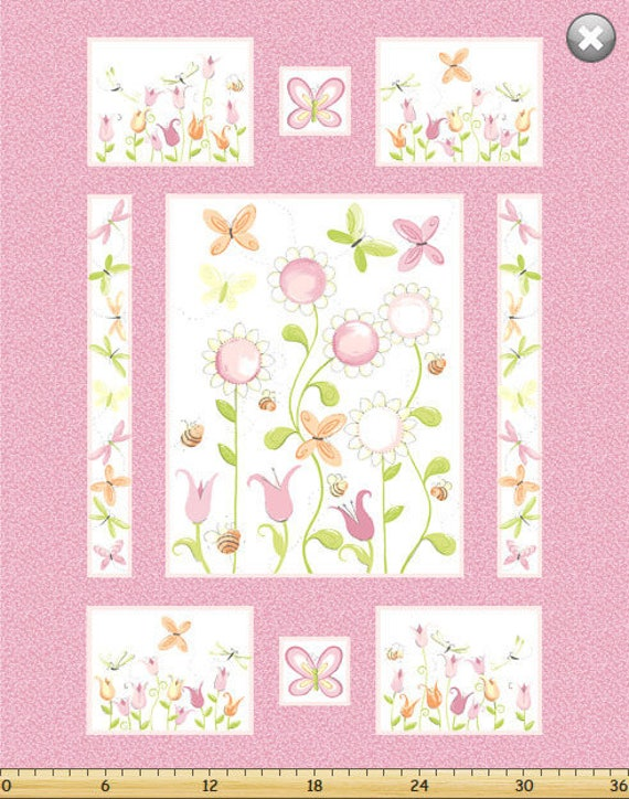 Large SUSYBEE fabric Panel cotton patchwork WORLD Of SUSYBEE Susy 88x110cm pink Sunflower