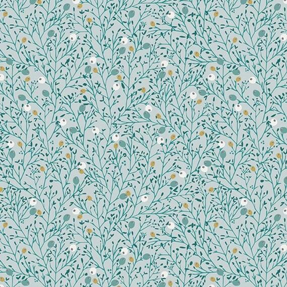 LITTLE TOWN fabric cotton patchwork Winterberry mist winter flora blue glacier x50cm
