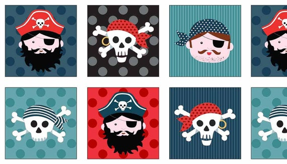 PIRATES cotton fabric patchwork squares Portraits pirates 30x110cm