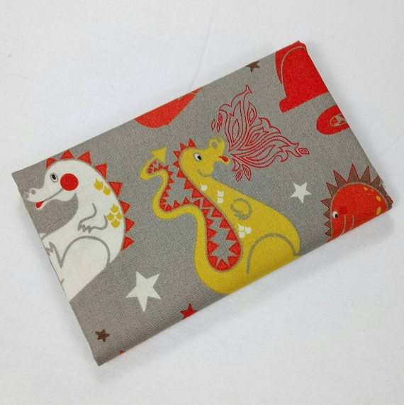Cotton fabric Coupon patchwork BABY DRAGONS Grey and orange 50x55cm DRAGONS