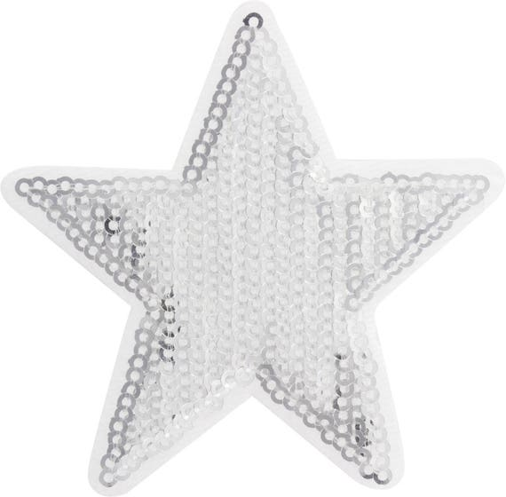 Applied fusible star 8cms white glitter silver