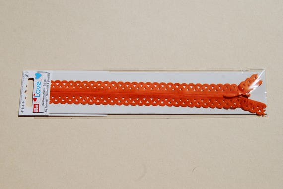 CLOSING A ZIPPER lace petals orange REF 418216 20cm
