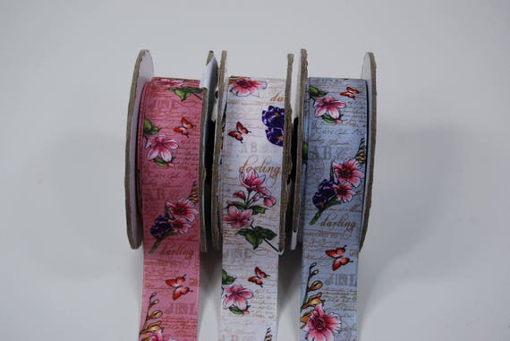 Darling 20mm 3 colors flowers printed Matt satin ribbon