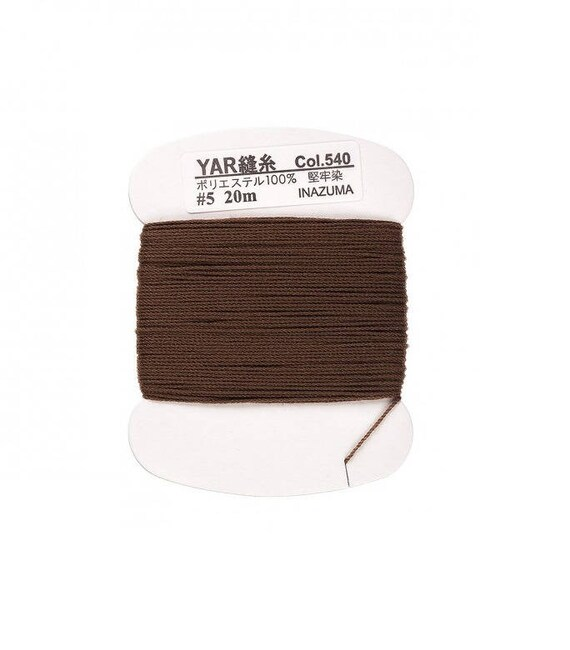 Polyester thread to sew handles or knobs Brown waxed