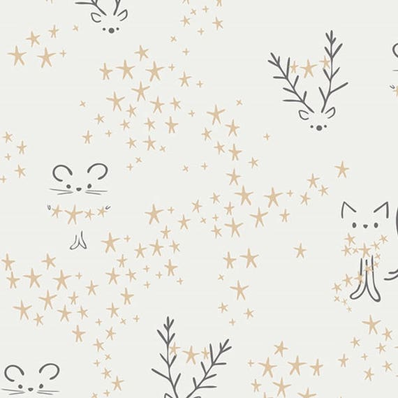 LITTLE TOWN fabric cotton patchwork Starbright Fog white and ivory x50cm mice and cats
