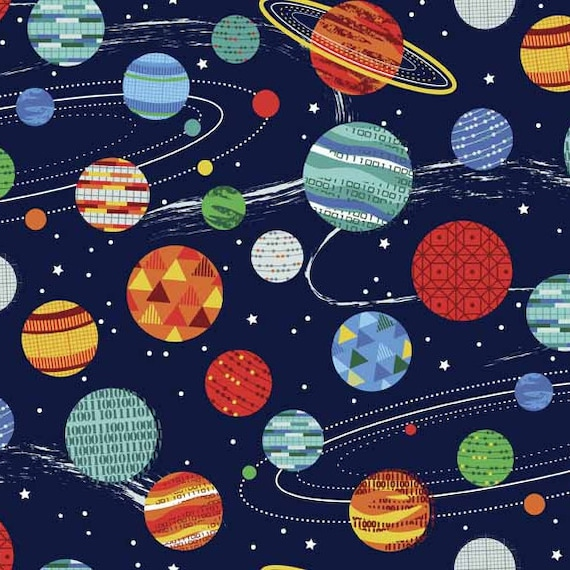 GALAXY fabric cotton patchwork designs of rockets in space on a dark blue background x 50 cm