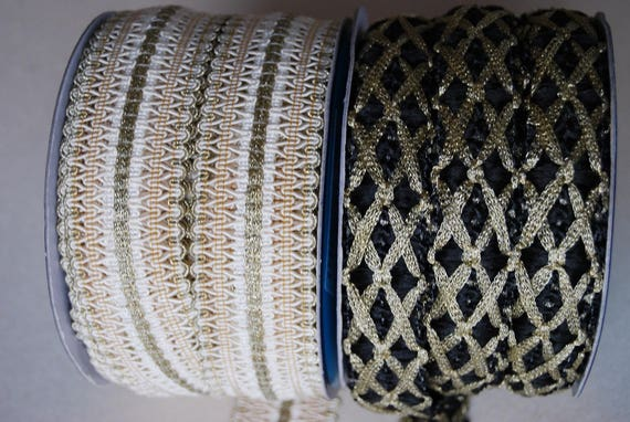 LACE BRAID BRACES 30MM IVORY AND GOLD