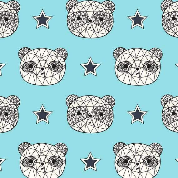 AVALANA AVALANA heads cotton jersey fabric with ' white turquoise black bear x40cm