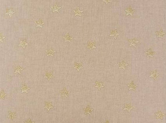 Woven cotton canvas printed natural linen color fabric x75cm gold stars