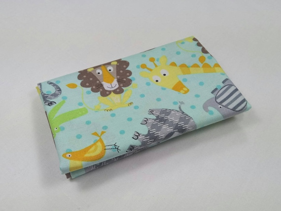 BABY ZOO fabric Coupon cotton patchwork ZOO Animals Baby Turquoise 50x55cm