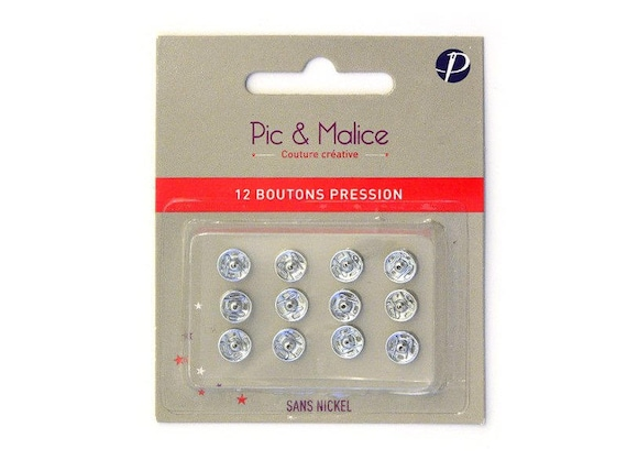 SET OF 12 SNAP BUTTONS TO SEW METAL SILVER 7MM
