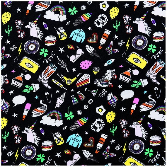 MAGICAL SUMMER fabric cotton multicolored fashion accessories on black x50cm drawing