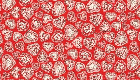 SCANDI fabric cotton patchwork Scandi 3 Hearts red x1m