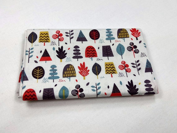 WINDY DAY fabric Coupon cotton patchwork Windy Day blue grey 50x55cm trees