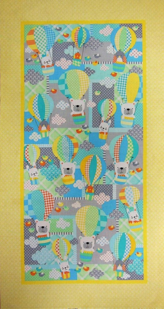 BREEZY BABY cotton fabric patchwork Panel bears and balloons 60x110cm big turquoise and yellow