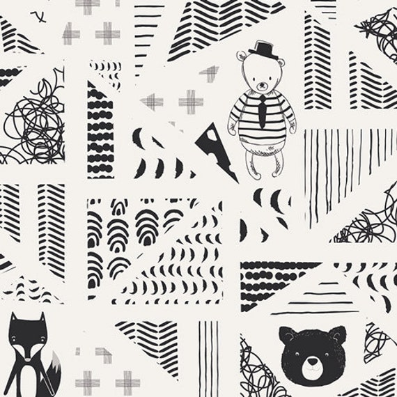 CAPSULES NEST fabric cotton patchwork bear graphic designs with sailor x 50 cm black and white