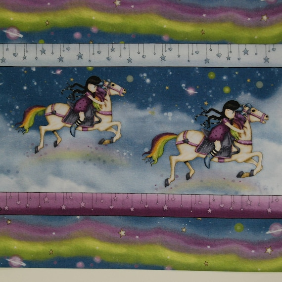 GORJUSS fabric cotton patchwork Santoro RAINBOW DREAMS drawings of girls on a horse in the sky in x50cm Rainbow band