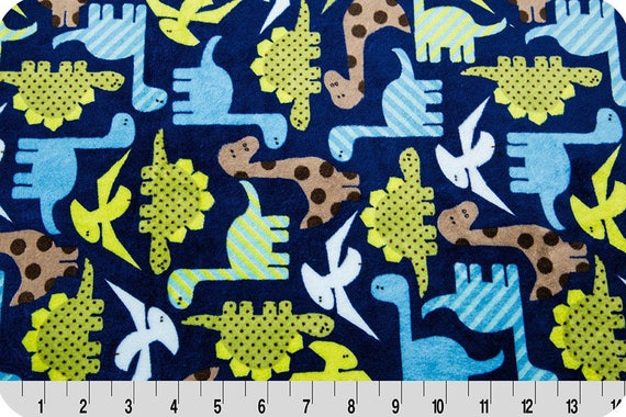 Printed synthetic velvet dinosaurs x25cm green and blue MINKY fabric