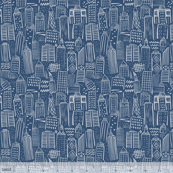 MONSTERS VS ROBOTS fabric cotton patchwork grey Metropolis estate navy on Navy x 50 cm