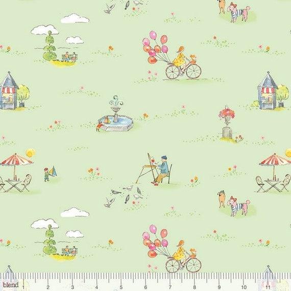 COLETTE tissue cotton patchwork COLETTE Parc and garden green x50cm