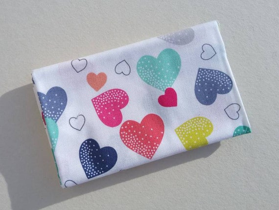 FANTASY Coupon fabric cotton patchwork FANTASY Hearts hearts white 50x55cm